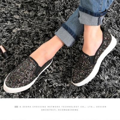 韓國KW美鞋館 (現貨+預購)-亮片造型厚底休閒鞋-黑