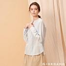 GIORDANO 女裝棉麻無領半開襟長袖襯衫-25 藍色/皎雪條紋