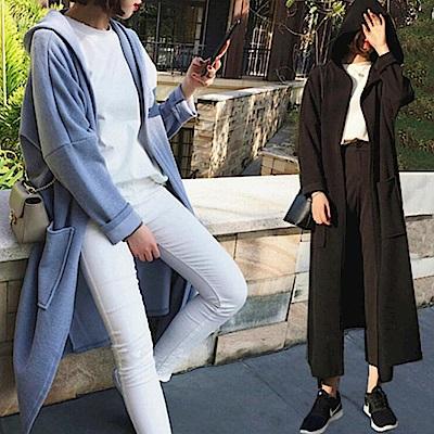 La Belleza素面連帽開襟無釦超長版衛衣棉料長外套