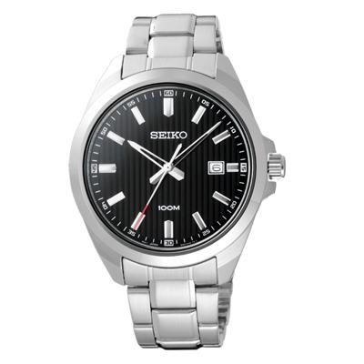 SEIKO風格時尚條紋腕錶-銀X黑(SUR277P1)-42mm