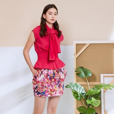ICHE 衣哲 進口精緻100%蠶絲繭型造型裙-覆盆子冰沙桃紅