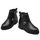 KEITH-WILL時尚鞋館 英倫帥氣皮扣短筒靴-黑色