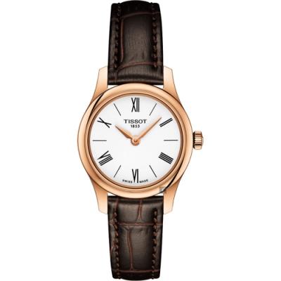 TISSOT天梭 Tradition 羅馬薄型石英女錶-白x咖啡/25mm T0630093601800