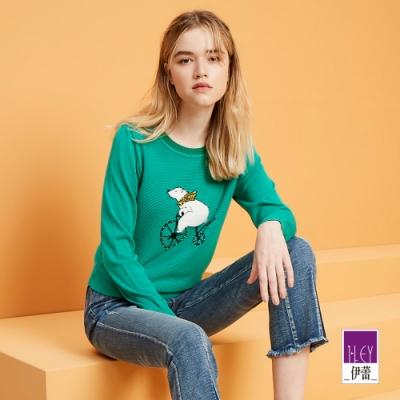 ILEY伊蕾 北極熊緹織縫鑽針織上衣(秋香/綠)