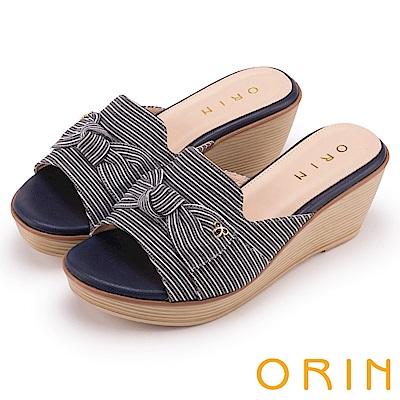 ORIN 愜意渡假風情 嚴選條紋布面楔型拖鞋-藍色