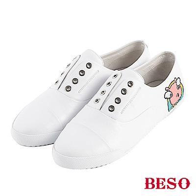 BESO 豬是大吉 鬆緊帶電繡休閒鞋~白