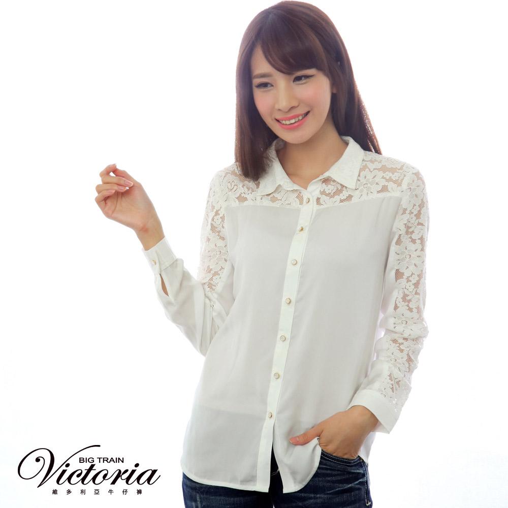 Victoria 真兩件式蕾絲雪紡長袖襯衫-女-白 product image 1