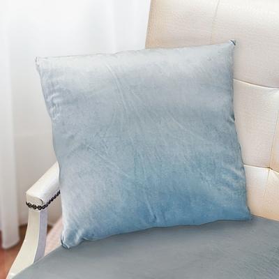 凱蕾絲帝 台灣製造-特級可水洗棉-實木椅沙發椅專用49cm絨布方形抱枕/靠枕-淺藍(二入)