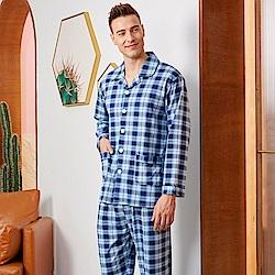 睡衣 時尚英倫格紋 針織棉男性長袖兩件式睡衣(R78221-10深藍) 蕾妮塔塔