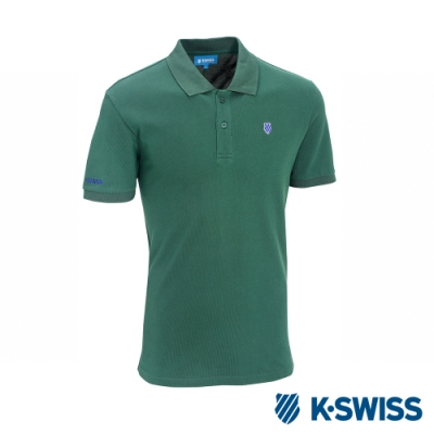 K-SWISS KS Polo w/Shied Logo Patch短衫-男-墨綠