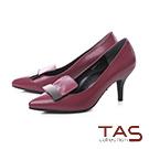 TAS金屬一字造型壓紋羊皮尖頭高跟鞋-女爵紅