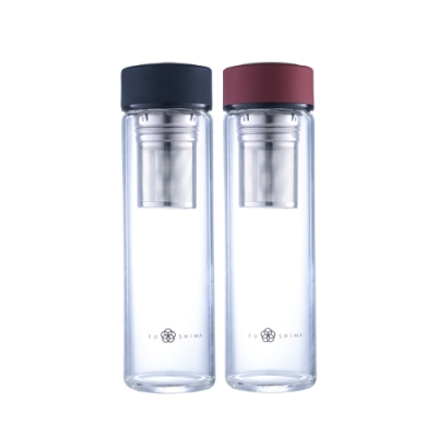 (買一送一)FUSHIMA富島 禪風單層厚底玻璃隨手瓶550ML(2色可選)