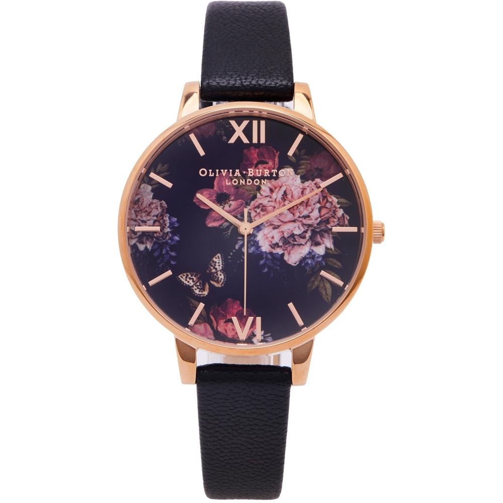 OLIVIA BURTON 黑色神秘花園款皮革錶帶手錶(OB16WG42)-黑面X黑色/38mm