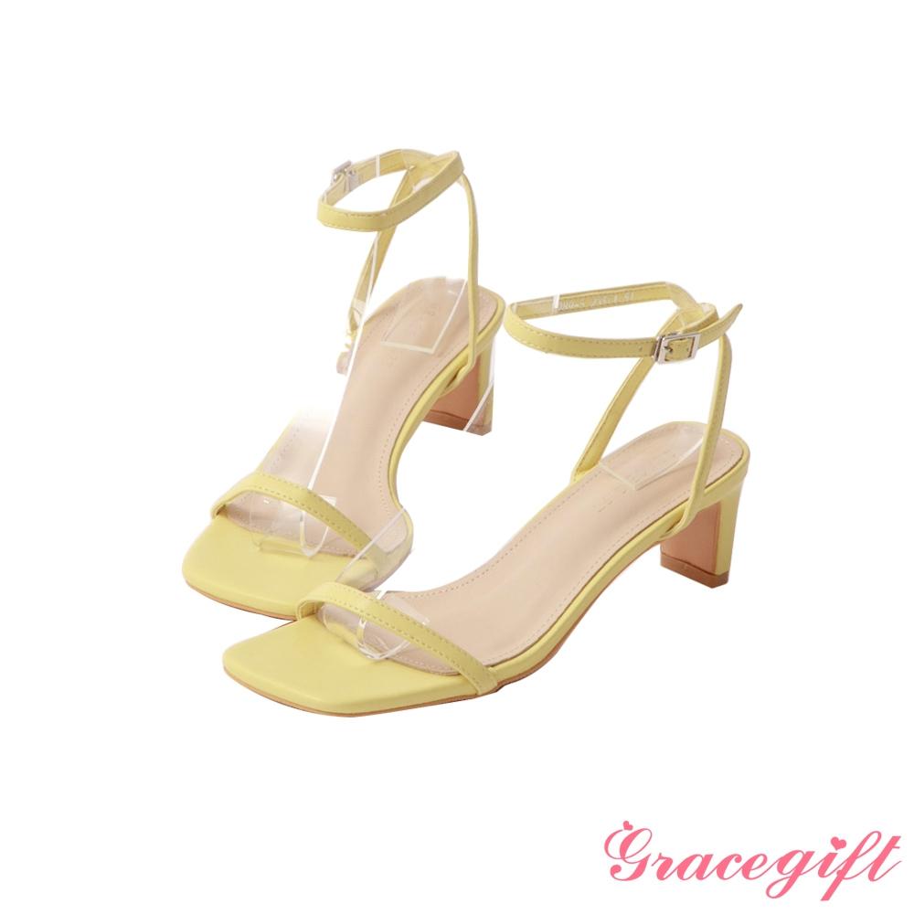 Grace gift-一字繫踝中跟涼鞋 黃