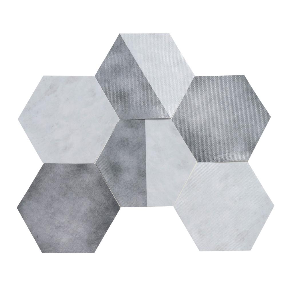 樂嫚妮 六角石紋牆壁貼紙-水泥灰大理石-20X23cmX10片-防水即撕即貼
