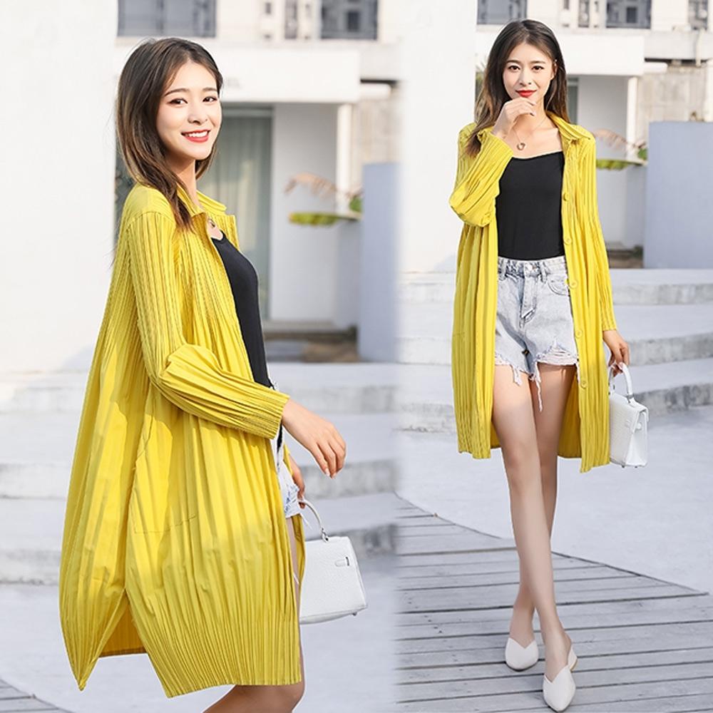 【KEITH-WILL】(預購)簡約舒適壓褶外套(共4色) (黃色)