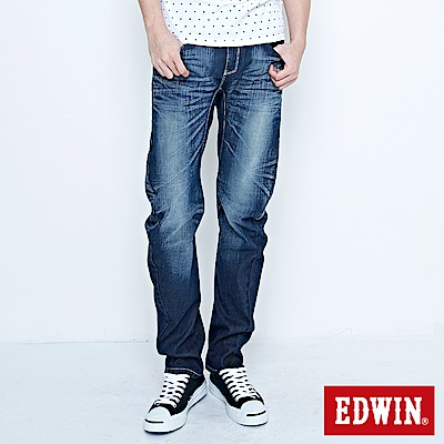 EDWIN 窄直筒 E-F袋蓋牛仔褲-男-中古藍