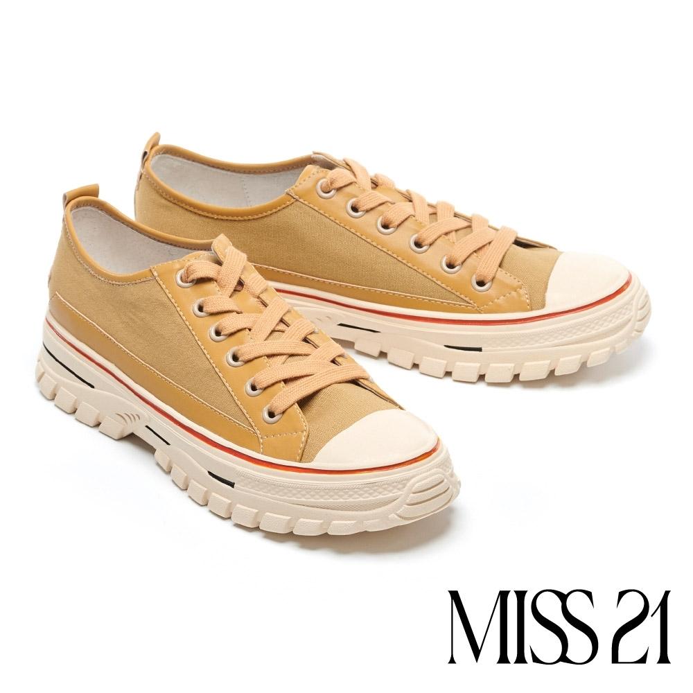 休閒鞋 MISS 21 復古玩味撞色異材質綁帶厚底休閒鞋-咖
