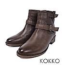 KOKKO-質感柔軟綿羊皮飾釦工程短靴-中性灰