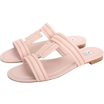 TOD'S DoubleT 荔枝紋牛皮涼鞋/拖鞋(粉色)