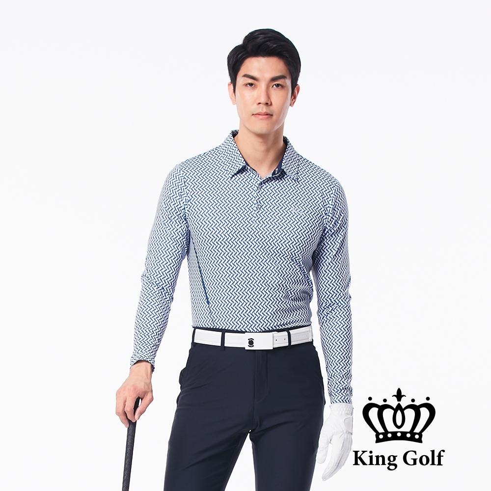 【KING GOLF】V字滿版印圖長袖POLO衫-藍色