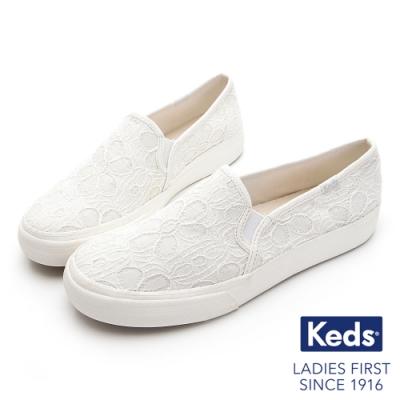 Keds DOUBLE DECKER 優雅花型蕾絲休閒便鞋-奶油白