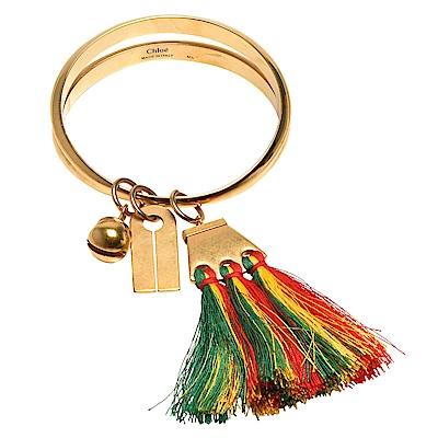 CHLOE Janis系列綠黃紅絲線流蘇銅鈴吊飾黃銅手鐲(金)