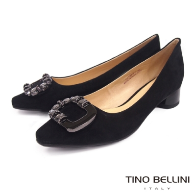 Tino Bellini 典雅方釦羊麂皮低跟鞋 _黑