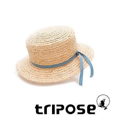 tripose 甜美簡約-100% Raffia入門款平頂細飾帶草帽(飾帶-淺藍)