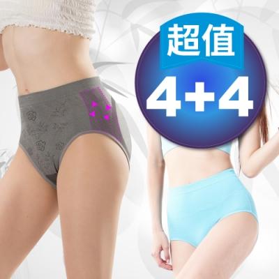 【JS嚴選】*台灣製*竹炭中腰無壓抗過敏三角內褲(竹中腰三角*4+日本美臀褲*4)
