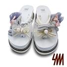 【SM】可愛俏皮蝴蝶結小兔子飾品厚底夾腳拖鞋