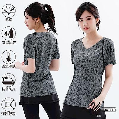 【遊遍天下】MIT女款透氣吸排抗UV速乾運動V領衫GS20008黑灰