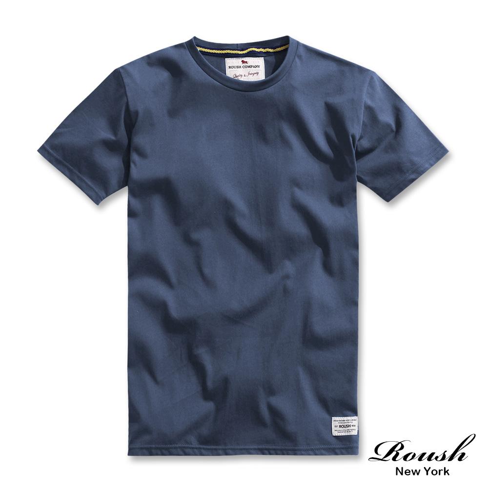 Roush 高磅數水洗棉素面圓領短TEE(6色) (灰藍)