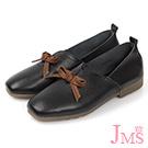 JMS-舒適簡約蝴蝶結牛皮平底休閒鞋-黑色