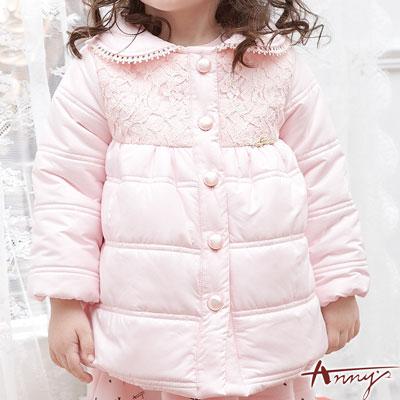 Anny甜美蕾絲貝殼釦鋪棉外套*5688粉