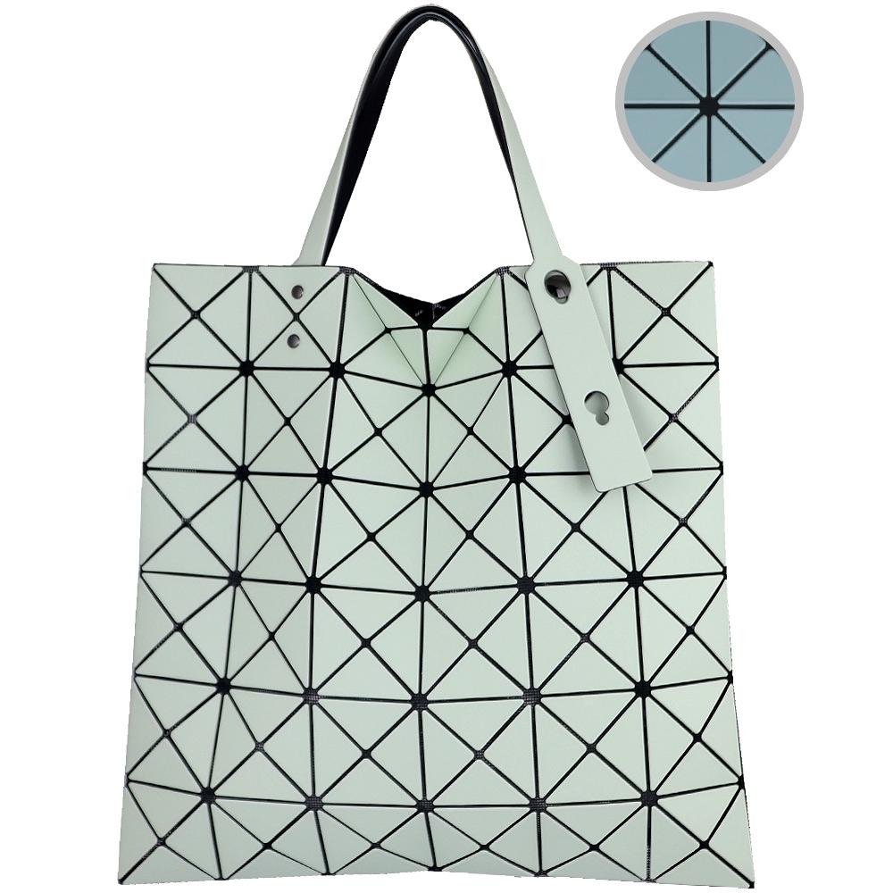 ISSEY MIYAKE 三宅一生BAOBAO 霧面雙色三角格6x6手提包(粉綠/青)