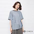 CHICA 文青範味斜側拼接條紋上衣(2色)