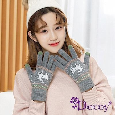 Decoy 聖誕馴鹿 男女保暖針織觸控手套 灰