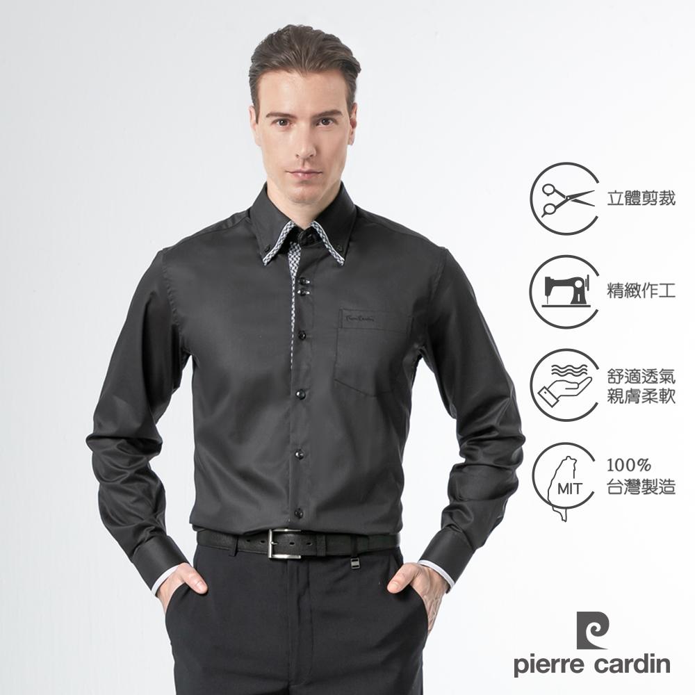 pierre cardin 皮爾卡登 男襯衫 進口素材合身版釘釦領設計純棉長袖襯衫_黑色(51826-99)