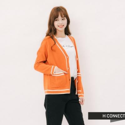 H:CONNECT 韓國品牌 女裝-滾邊造型排扣針織外套-橘