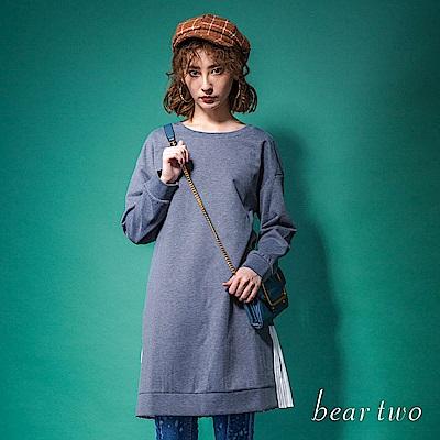 beartwo 休閒異材質百摺拼接造型洋裝(二色)