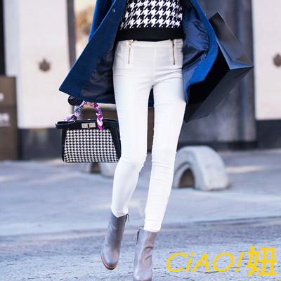 雙拉鍊設計褲頭小腳鉛筆褲 (共二色)-CIAO妞