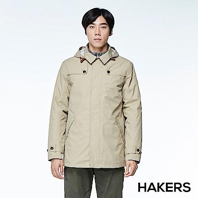 【HAKERS 哈克士】男款 三合一城市防水羽絨外套(灰褐色)