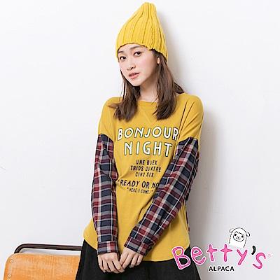 betty's貝蒂思 字母印花格紋拼接寬版上衣(深黃)