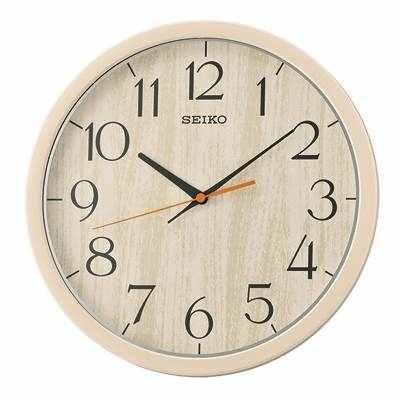 SEIKO 精工 仿木紋 滑動式秒針 靜音掛鐘(QXA718A)-卡其/31cm