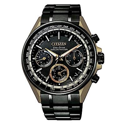 CITIZEN星辰GPS衛星對時鈦金屬蓋世腕錶-黑x金CC4004-66E