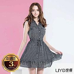 LIYO理優格紋襯衫式洋裝(黑)