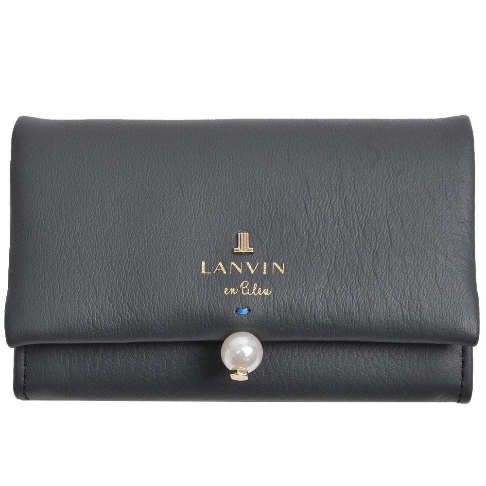LANVIN en Bleu 品牌字母LOGO珍珠風造型名片夾(深灰)