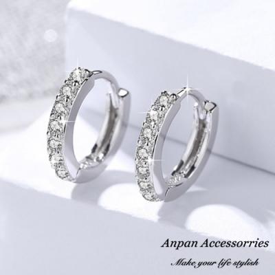 ANPAN愛扮S925純銀飾 韓東大門鑽石圓圈耳扣式耳環