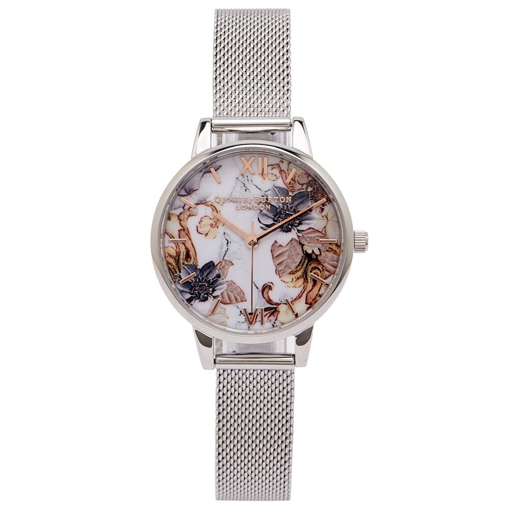 OLIVIA BURTON 花與大理石紋錶帶手錶(OB16CS16)-花朵面/30mm